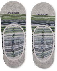BOSS - Striped Stretch Cotton-blend No-show Socks - Lyst