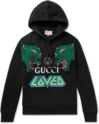 5ef9e1e6fa4 Lyst - Gucci Embroidered Loopback Cotton-jersey Zip-up Hoodie in ...