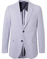 BOSS - Blue Nobis Unstructured Striped Cotton-blend Seersucker Blazer - Lyst