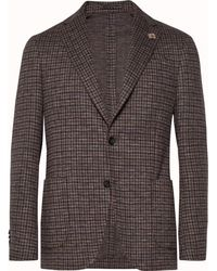 Lardini - Brown Unstructured Checked Cotton And Wool-blend Blazer - Lyst