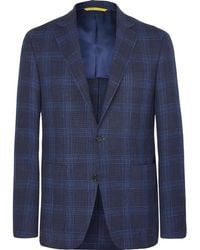 Canali - Navy Kei Unstructured Checked Wool, Silk And Linen-blend Blazer - Lyst