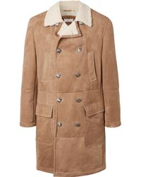 Brunello Cucinelli - Double-breasted Shearling Coat - Lyst