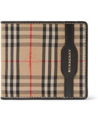 Burberry - Checked Twill And Leather Billfold Wallet - Lyst