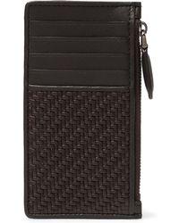 Ermenegildo Zegna - Pelle Tessuta Leather Zipped Cardholder - Lyst
