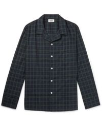 Sleepy Jones - Henry Piped Black Watch Checked Cotton Pyjama Shirt - Lyst