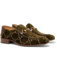 Gucci - Horsebit Collapsible-heel Leather-trimmed Embroidered Velvet Loafers - Lyst