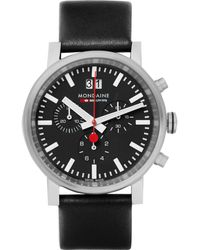 Mondaine - Evo Stainless Steel And Leather Chronograph Watch - Lyst