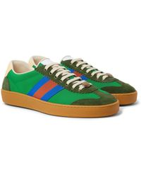 f97bbf9d6 Gucci Jbg Webbing, Suede And Leather-trimmed Nylon Sneakers