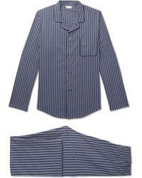 Derek Rose - Royal Stripe And Cross Print Cotton Pyjama Set - Lyst