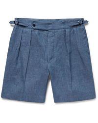 Ralph Lauren Purple Label - Pleated Linen And Mulberry Silk-blend Shorts - Lyst