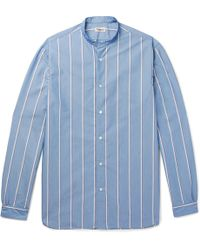 Camoshita - Grandad-collar Striped Cotton-blend Shirt - Lyst