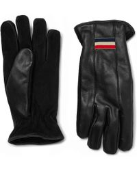 Moncler - Suede And Leather Gloves - Lyst