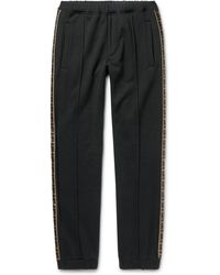 Fendi - Slim-fit Tapered Logo-trimmed Cotton, Wool, Silk And Cashmere-blend Track Trousers - Lyst