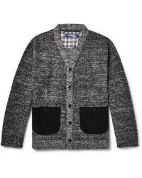 Junya Watanabe - Slim-fit Cotton-trimmed Mélange Wool-blend Cardigan - Lyst