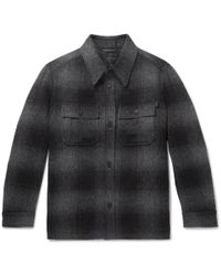 Brioni - Checked Brushed Wool And Alpaca-blend Overshirt - Lyst