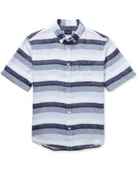 Club Monaco - Slim-fit Button-down Collar Striped Linen Shirt - Lyst