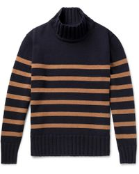 Universal Works - Striped Wool-blend Rollneck Sweater - Lyst
