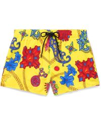 347ff71631a6f Versace Slim-fit Short-length Logo-trimmed Swim Shorts in Blue for ...
