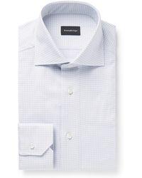 Ermenegildo Zegna - Light-grey Cutaway-collar Checked Cotton Shirt - Lyst