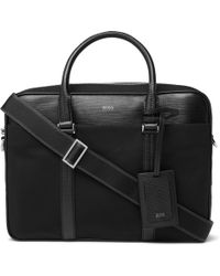 BOSS - Meridian Cross-grain Leather Trimmed Canvas Briefcase - Lyst