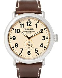 Shinola | The Runwell 47mm Stainless Steel And Leather Watch | Lyst