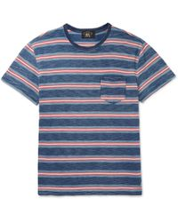 RRL - Striped Garment-dyed Knitted Cotton T-shirt - Lyst