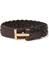 Tom Ford - Woven Leather And Gold-tone Bracelet - Lyst