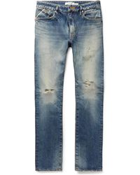 Nonnative - Dweller Slim-fit Distressed Selvedge Denim Jeans - Lyst