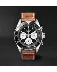 Tag Heuer | Autavia Automatic Chronograph 42mm Polished-steel And Leather Watch | Lyst