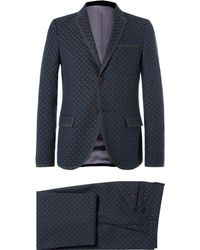 Gucci - Blue Slim-fit Wool And Cotton-blend Jacquard Suit - Lyst