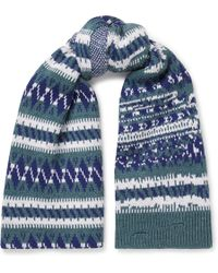 Balenciaga - Distressed Fair Isle Wool-blend Scarf - Lyst