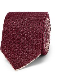 Brioni - 6cm Reversible Knitted Silk And Linen-blend Tie - Lyst