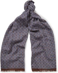 Anderson & Sheppard - Fringed Printed Cotton-voile Scarf - Lyst