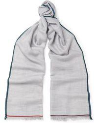 Loro Piana - Contrast-trimmed Cashmere, Silk And Hemp-blend Scarf - Lyst