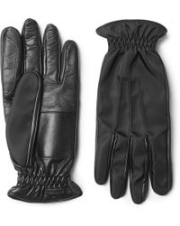 Prada - Cashmere-lined Leather And Twill Gloves - Lyst