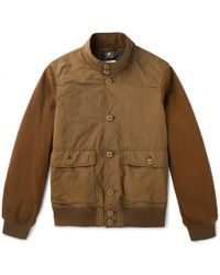 Aspesi - Suede-panelled Shell Jacket - Lyst