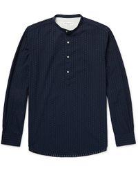 Officine Generale - Auguste Grandad-collar Cotton-jacquard Shirt - Lyst