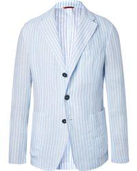Barena - Light-blue Unstructured Striped Linen Blazer - Lyst