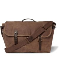 J.Crew - Abingdon Leather-trimmed Waxed Cotton-canvas Messenger Bag - Lyst