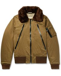 Monitaly - B-15 Faux Shearling-trimmed Cotton-twill Bomber Jacket - Lyst