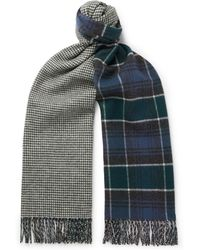 Drake's - Reversible Herringbone And Tartan Merino Wool And Cashmere-blend Scarf - Lyst