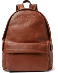 Brunello Cucinelli - Full-grain Leather Backpack - Lyst