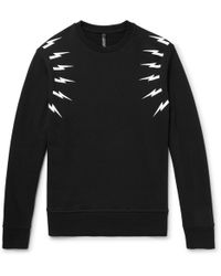 Neil Barrett - Printed Loopback Cotton-jersey Sweatshirt - Lyst