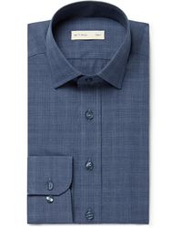 Etro - Blue Slim-fit Checked Cotton Shirt - Lyst