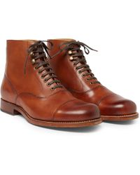 Grenson - Leander Cap-toe Burnished-leather Boots - Lyst