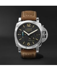 Officine Panerai - Luminor 1950 3 Days Acciaio 42mm Stainless Steel And Leather Watch - Lyst