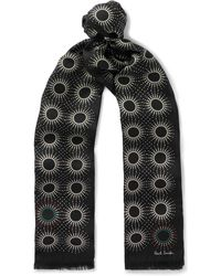 Paul Smith - Starburst Printed Fringed Silk And Wool Scarf - Lyst