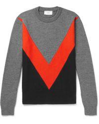 AMI - Panelled Merino Wool Sweater - Lyst