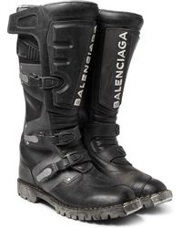 Balenciaga - Leather Motorcycle Boots - Lyst