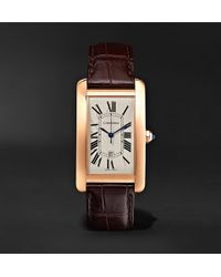 Cartier - Tank Américaine Automatic 45mm 18-karat Pink Gold And Alligator Watch - Lyst